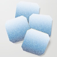 Faded blue and white swirls doodles Coaster by savousepate