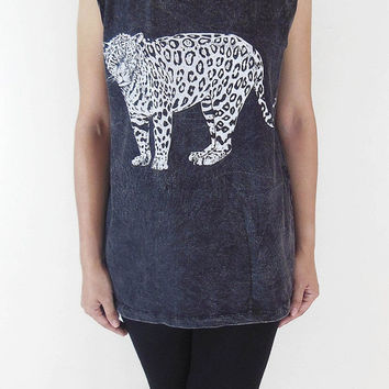 Leopard Tiger Animal Style Leopard Tank Top Unisex T-Shirt Animal Shirt Bleach Black Tunic Screen Print Size M