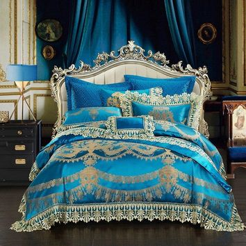 Blue Luxury Royal Bedding Set King/Queen Size Bed set Silk Satin Lace Duvet Cover Bed Spread sheet set Pillowcases juego de cama