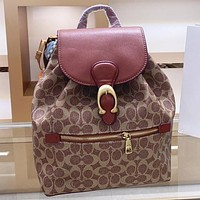 COACH New fashion pattern print leather handbag backpack bag