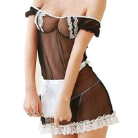 Zodaca Black Women Lingerie See-through Lace One-piece with G String | Overstock.com Shopping - The Best Deals on Lingerie