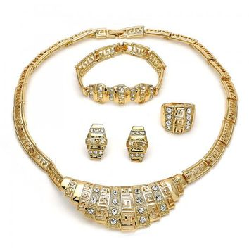 Gold Layered 06.288.0016 Necklace, Bracelet, Earring and Ring, Greek Key Design, with White Crystal, Polished Finish, Golden Tone