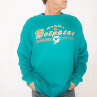 Vintage 80s Miami Dolphins Football Sweatshirt NFL - AFC Dan Marino collectible Orange Teal Blue - Size XXL Valentines Gift for Him