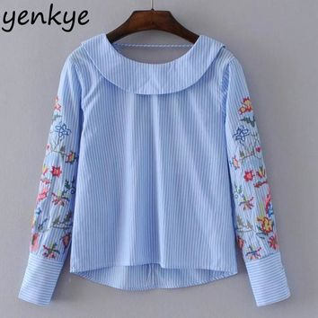 Women Blue Striped Blouse Shirt Embroidery Long Sleeve Peter Pan Collar Back Criss-Cross Sweet Blouses Fashion Ladies Tops