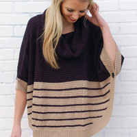 Knit & Navy Swing Poncho