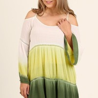 Plus Size Dip Dye Open Shoulder Top