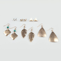 Full Tilt 6 Pair Bird/Pyramid/Leaf Earrings Gold One Size For Women 20811962101