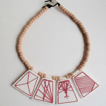 Embroidered geometric necklace hot pink pendants with peach-pink Native American glass beads with pale pink glass toggle