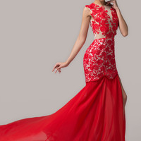 Red V-Neck Sheer Mesh Lace Side Slit Mermaid Maxi Dress
