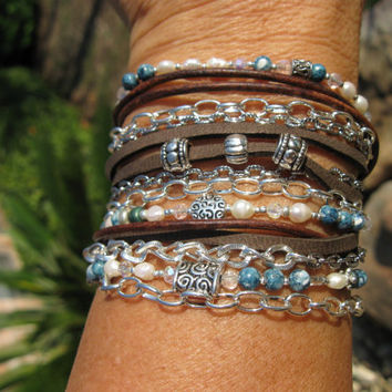 "Boho....NEW...Endless leather...""Denim and Pearls.""..Multi-strand wrap bracelet"