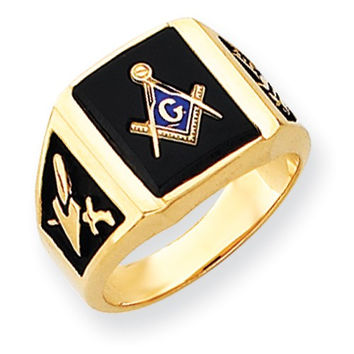 14k Yellow Gold Mens Synthetic Ruby Masonic Ring