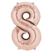 Supershape Rose Gold Number 8 Helium Balloon