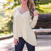 Light Yellow V-Neck Long Sleeves Asymmetric Blouse