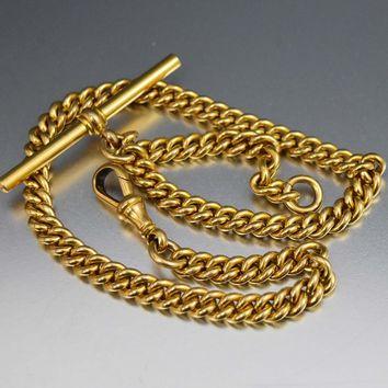 Victorian 18K Rolled Gold Curb Link Albert Pocket Watch Chain