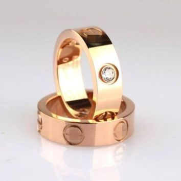 DCCKUNT 3 Color Stainless Steel Gold Plated Ring Unisex's Ring Valintine's Gift