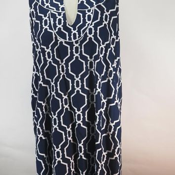 Escapada Dress Blue & White IKat Print Sleeveless Shift Pockets SZ XL