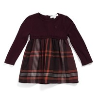 Infant Girl's Burberry 'Opelia' Check Print Long Sleeve Dress,