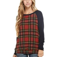 Long Sleeve Plaid Print Top, Navy-Red