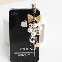 Earphone Jack Accessory Gold Plated Pink Flowers Golden Bow Crystal Golden Beads Pearl / Dust Plug / Ear Jack For Iphone 4 4S / iPad / iPod Touch / Other 3.5mm Ear Jack: Cell Phones & Accessories