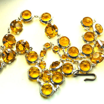 VINTAGE Art Deco Silver and Amber Crystal Bezel, Open Pointed Back Choker Necklace, So Gorgeous!  #a672