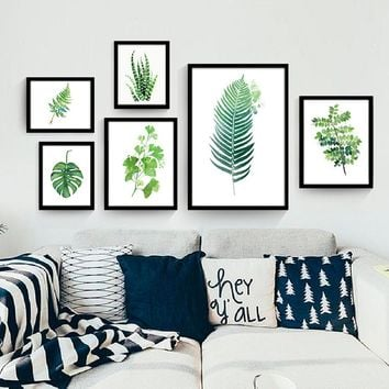 Nordic Watercolor Succulent Green Plants Painting Canvas Art Print Poster Cactus Wall Paintings Home Office Decor Unframed