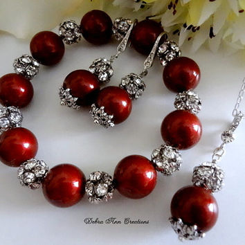 Swarovski Red Bordeaux Marsala Pearl Antique Silver Crystal 3 Piece Necklace Bracelet Earring Set Red Wedding Bridal Bridesmaid Jewelry Gift