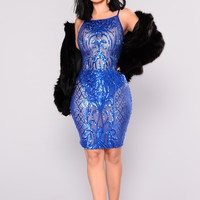 Honest Truth Sequin Dress - Royal