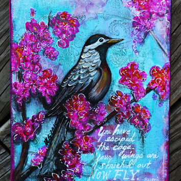 Freedom - Original Mixed Media Bird Art Canvas - Inspirational Wall Decor - Inspirational Bird Artwork - Bohemian Art