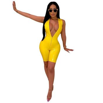 Plus-Size Faux Leather Zipper Up Sleeveless Deep V Neck One Piece Romper
