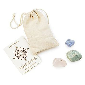 Calming Affirmation Stones | Semi Precious Stones, Blue Lace Agate, Rose Quartz, Amazonite