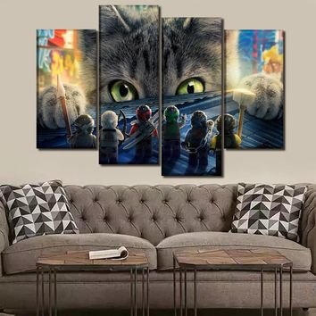 Canvas HD Print Picture Wall Art For Living Room Home Decor Poster 4 Piece/1 Pcs The Lego Ninjago Movie Painting Decor Framework