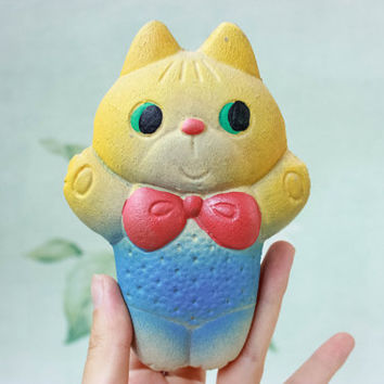 Cute Soviet Cat Toy / USSR Vintage Mid Century Animal Rubber Toy / 1970's - 80's Russian Kitsch Yellow & Blue Cat with Red Bow / Nursery Toy