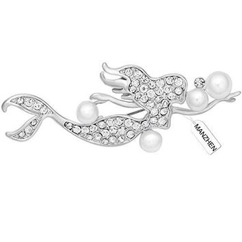 MANZHEN Silver Mermaid Spakle Pearl Crystal Brooches Pins Clothes Accessories