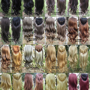 "17 Colors HOT 3/4 Half Long Curly Wavy Wig Heat Resistant Synthetic Wig Hair 200g 24"" Highlighted Curly Wig Hairpieces with Comb Wig Hair 1PCS"