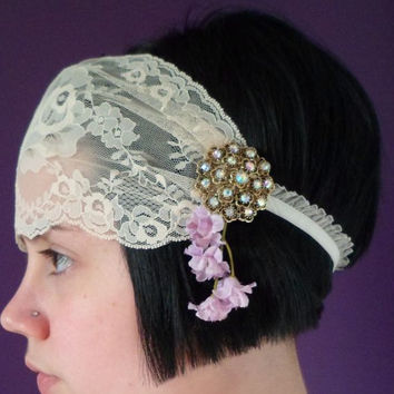 1920s Lace Headpiece, Art Deco Flower Headband, Beaded Flapper Head Piece, Bridal Hairpiece