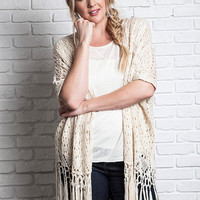 Women's Ivory Crochet Knit Vest