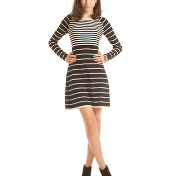 Trina Turk Violetta Merino Wool Stripe A Line Dress