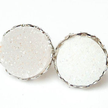 Boho Earrings - Sparkling Moon - White Raw Druzy Round Gemstone Stud Earrings - Post, Jewelry, Hippie, Hipster, Bridesmaids Gift