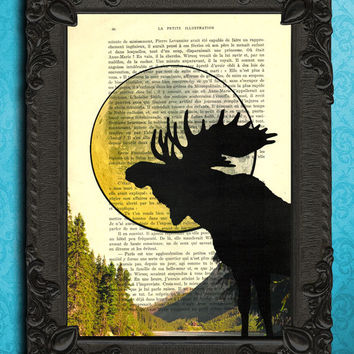 Moose art, moose head with moon, moose antler