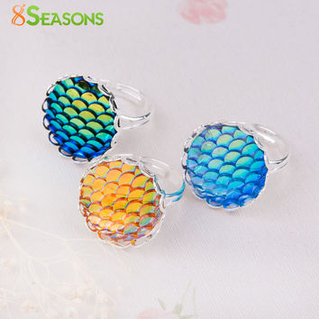 8SEASONS Handmade Druzy Drusy Adjustable Mermaid Fish Dragon Scale Rings Silver Plated Round 16.7mm(US size 6.25) 1 Piece