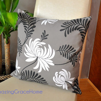 Zippered cotton throw pillow covers - taupe swirl floral decorative prints - 30% off Pre Christmas home deco cushion  sale Made in Australia