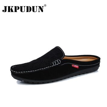 JKPUDUN Designer Summer Men Casual Shoes 2017 Italian Men Breathable Slip On Boat Shoes Leather Mens Penny Loafers Luxury Brand