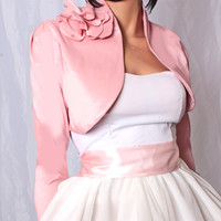 Peach pink taffeta / long sleeve / bridal /bridesmaid/ shrug wedding bolero
