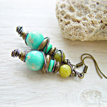 Boho Earrings - Boho Turquoise Earrings - Boho Jewelry - Hippie Earrings - Tribal Earrings - Hippie Jewelry - Yoga Earrings - Yoga Jewelry