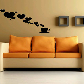 Wall Decor Vinyl Sticker Room Decal Art Coffee Cup With Smoking Hot Hearts Tea Shop 961