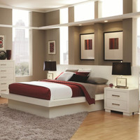 Jessica Queen Platform Bed with Rail Seating and Lights