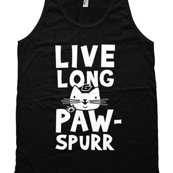 Funny Cat Tank Live Long And Paw-Spurr Kitty Top Kitten Gifts Movie Parody Cat Tee American Apparel Tanks For Her Womens Unisex Tank WT-311