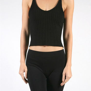 Twisted Strap Ribbed Crop Top - Black