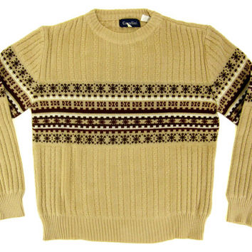 Vintage Tan Nordic Sweater - Fair Isle Ribbed Pullover Beige Brown - Men's Size Medium Med M