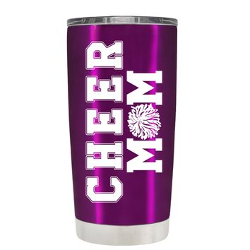 Pom Pom Cheer Mom on Raspberry 20 oz Tumbler Cup